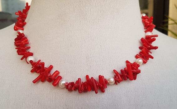Colar Vermelho Branco Coral Palito Pérolas Naturais