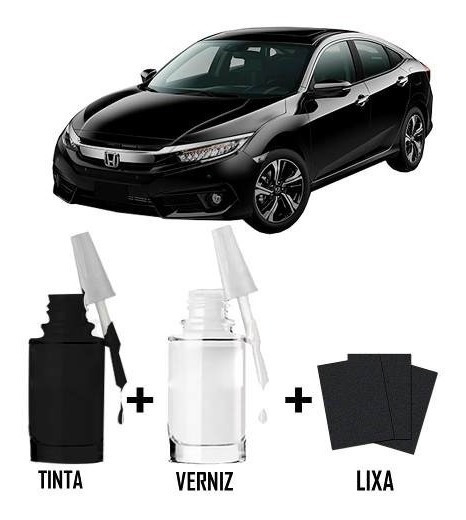 Tinta Tira Risco Automotivo Honda Civic Cor Preto Cristal