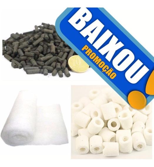 Lã Perlon 100x100+ 1 Kg Carvão Ativado+1 Kg Ceramica Porosa