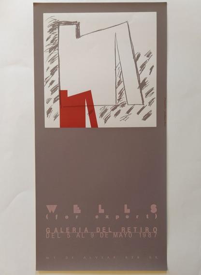 Luis Wells Cartel Afiche Serigrafía Original 1987 (rojo)