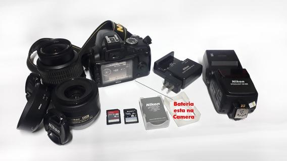 Nikon D3000 + Flash + 18 55 + 35mm 1.8 + 2 Bat. + 2 Cartões