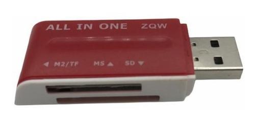 Leitor Usb Cartão Sd E Micro Sd Adaptador Pendrive M2