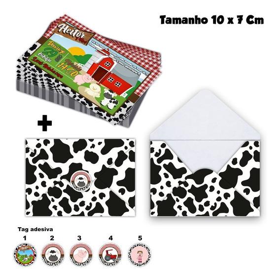 30 Convites Fazendinha Personalizados 10x7cm + Envelope +tag