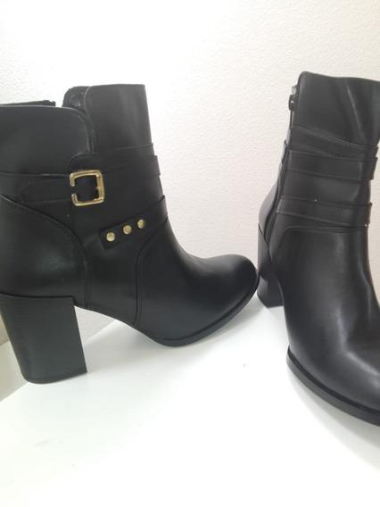 Botines Botas Para Dama Con Tacón Color Negro (botin)