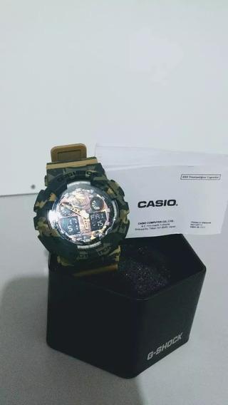 Relogio Casio G-shock Ga-100 Cm 8a Camuflado Verde