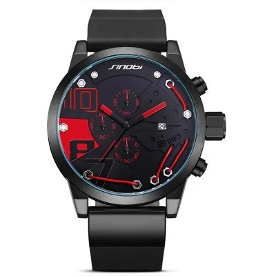 Relógio Masculino Sinobi 9728 Preto/vermelho Original Luxo