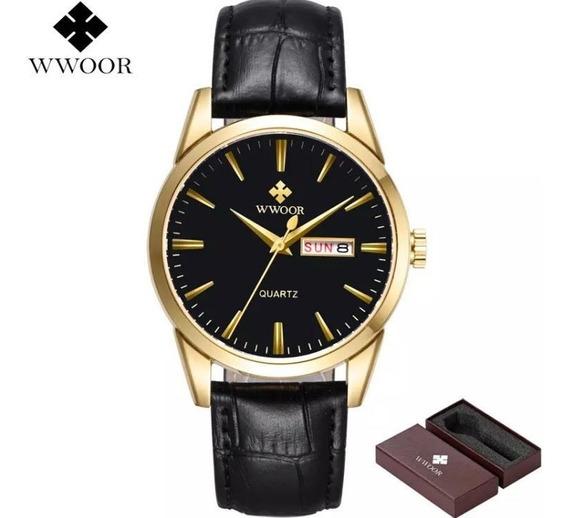 Relógio Masculino Wwoor Banhado Gold Pulseira Couro