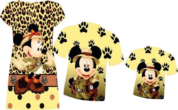 2 Vestidos Adultos + Vestido Infantil - Mickey E Minnie Safa