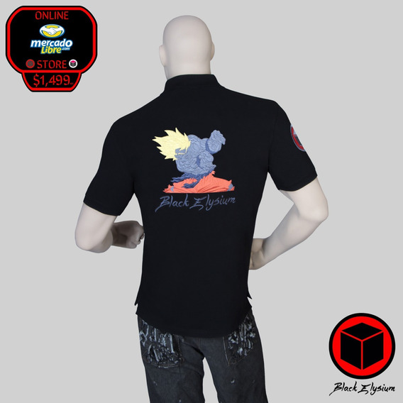 Playera Polo - Dragon Ball Goku Bordado 3d - Black Elysium
