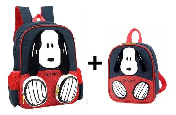 Kit Mochila Infantil + Lancheira Snoopy 3d Luxcel - Original