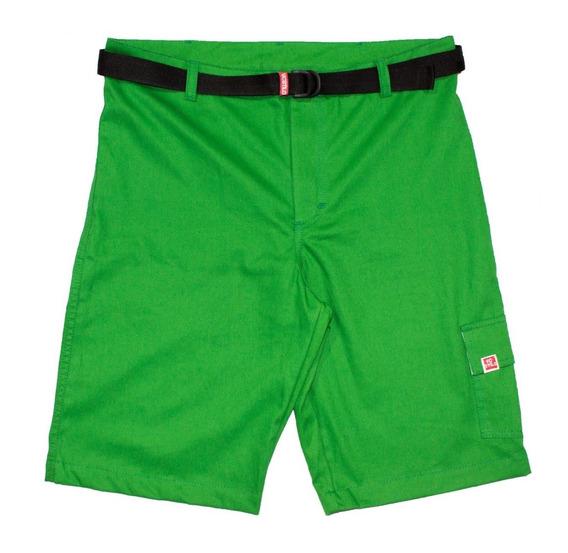 Bermuda Masculina Sarja Verde Com Bolso Cargo E Cinto