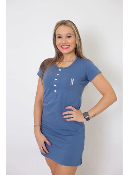 Vestido Henley Azul Petróleo
