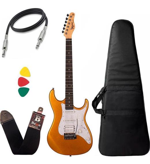 Kit Guitarra Tagima Tg520 Dourado Metallic Gold Capa Cabo