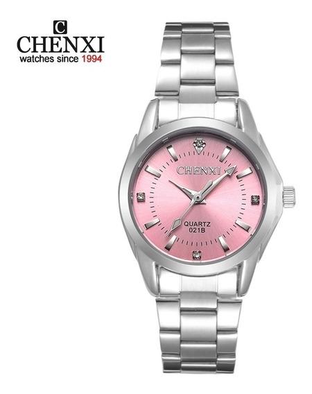 Relógio Feminino Prata Fundo Rosa Chenxi Prova D
