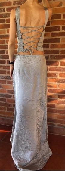 Vestido Conjunto Pollera/corset Gris Plata - Como Nuevo
