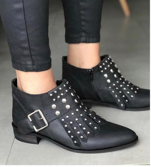 Zapato Mujer Bota Cuero Con Tachas Y Flecos - Lynch #2950