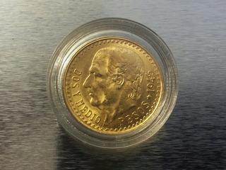 Moneda De Oro De Dos Pesos Y Medio 1945