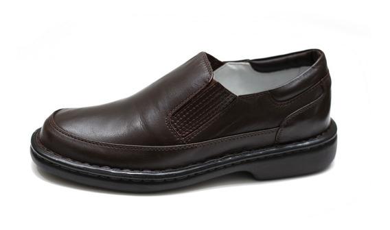 Sapato Couro Masculino Alcalay Anti Estresse Tradicional Elástico Numeração Até 47 Ref 709