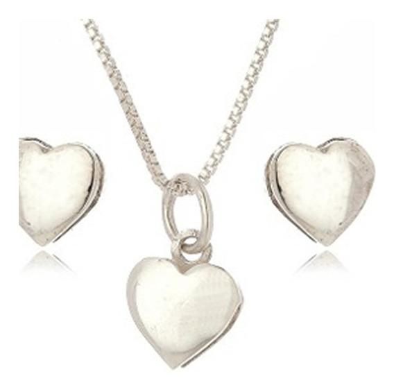 Conjunto Feminino Coração De Prata 950