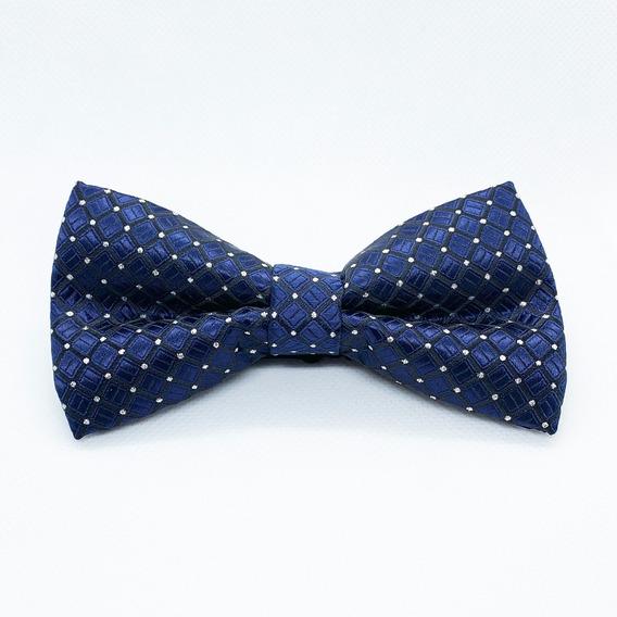 Corbata Moño Pajarita Azul Marino Punto Brillante Hombre
