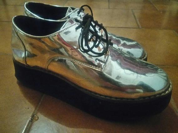 Zapatos Plateados Plataforma