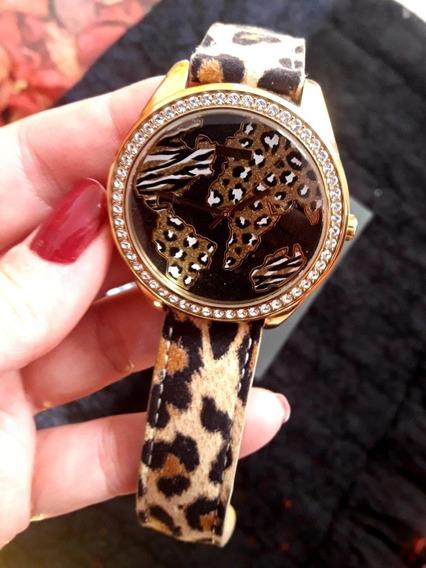 Relógio Guess Original Feminino Pele Oncinha Com Zirconias