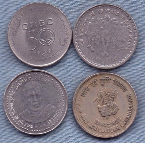 India 5 Rupees Conmemorativas * 4 Monedas * Oferta !!!!