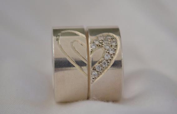 Par De Alianças De Prata 950 9,5mm Com Pedras