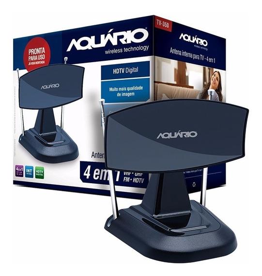 Antena Interna Para Tv Mini Parabólica Aquário 4 Em 1 Tv-350