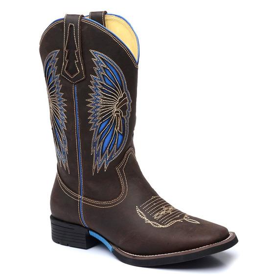 Bota Masculina Texana Country Bico Quadrado Cano Longo