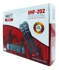 Microfone S/ Fio Profissional Duplo Mão Uhf Tipo Shure Mxt