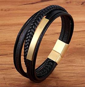 Bracelete Pulseira Masculina Couro É Banhado A Ouro ! Top