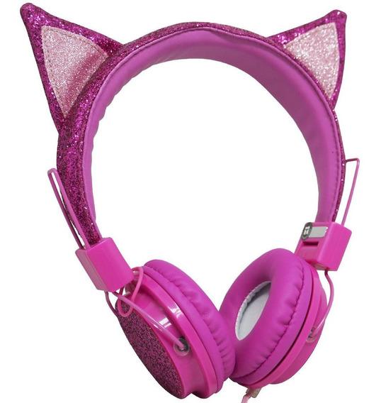 Fone Ouvido Headphone Infantil Orelha Gatinho Glitter Rosa