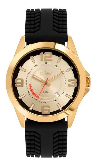 Relógio Masculino Dourado Condor Casual Pulseira Preta 5 Atm