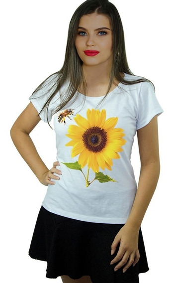 Roupas Camisetas Femininas Girassol Abelha Iaia Brasil
