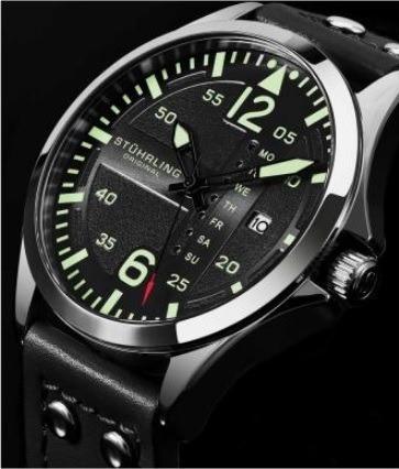 Relógio Masculino Stuhrling Original Aviator Pulseira Preta