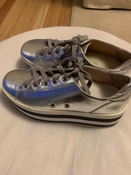 Zapatillas Mujer Prune Plateadas N°36 Con Plataforma
