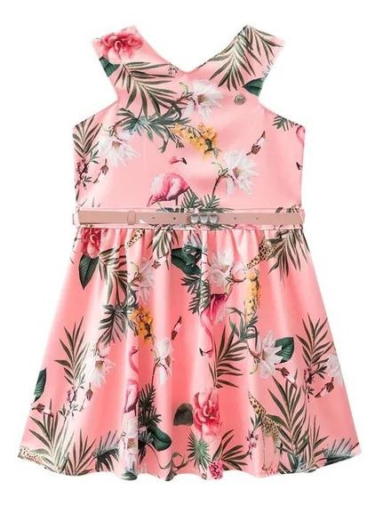 Vestido Acetinado Com Estampa Tropical.