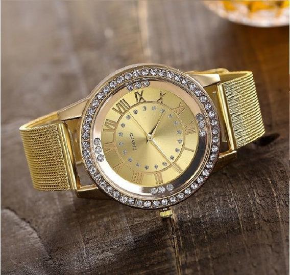 Relógio De Pulso Quartz Feminino Dourado Com Pedras