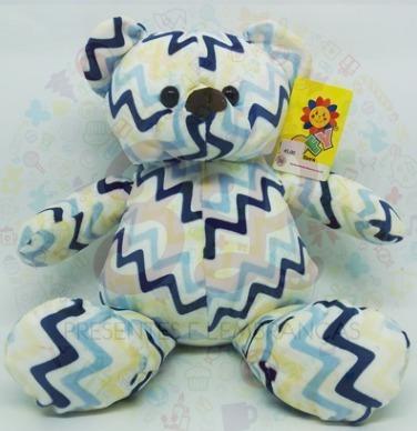 Urso Pelúcia Chevron Azul E Amarelo