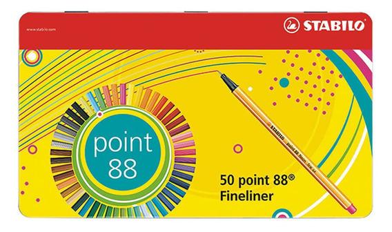 Caja Metálica Stabilo Point 88 Colores Surtidos