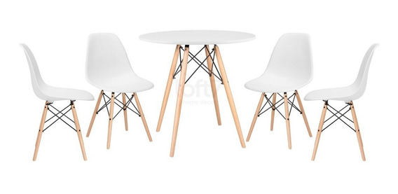 Kit Jantar Eames Wood Mesa 80 Cm 4 Cadeiras Dsw Eiffel Cores
