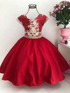 Vestido Vermelho Princesa Infantil Renda Luxo Aniversário