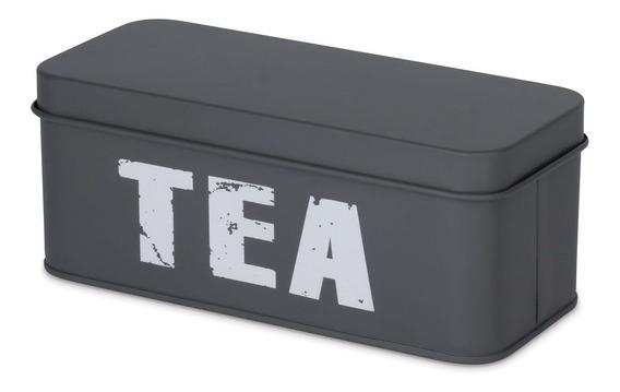 Lata Porta Chá Com Divisória Cinza Pote Porta Mantimentos