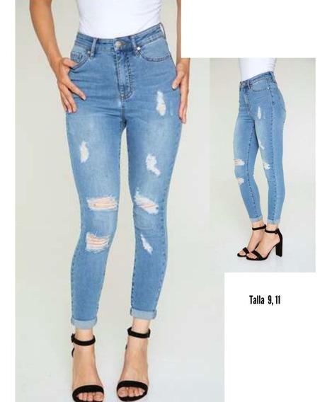 Pantalón De Dama Claro - Ripped Skinny Jeans