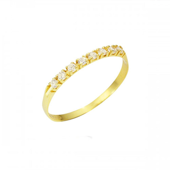 Meia Aliança Com Diamantes Em Ouro 18k - Ma-01