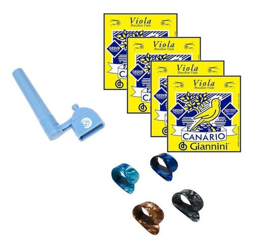 Kit Encordoamento Viola-canario,encordoador, Dedeiras