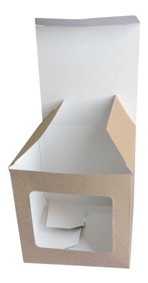 Caja Para Taza 1 Ventana X 100u Packaging Blanco Madera Taz1