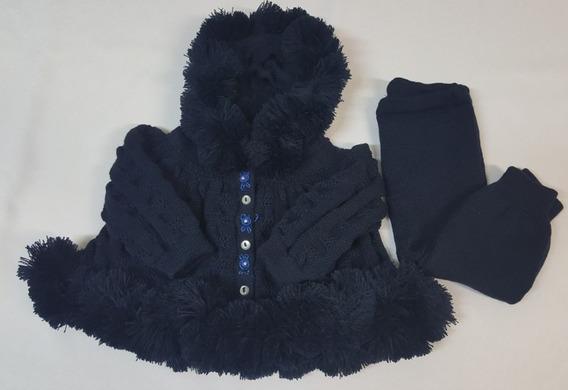 Conj. Eskimó ( Casaco + Calça) Tricot Bebê Azul Marinho