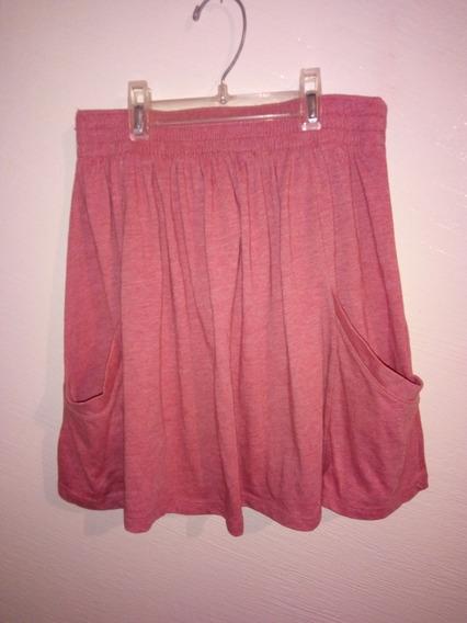 Falda Plisada Color Rosa Con Bolsas Zara Trafaluc